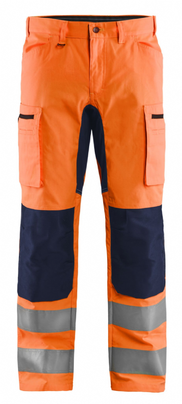 Blaklader 1585 Hi Vis Work Trousers with Stretch (Hi Vis Orange / Navy)